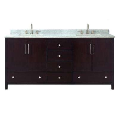 Rockford 73 in. W x 22 in. D x 34.5 in. H Vanity in Dark Espresso with Marble Vanity Top in Carrera White with Basin