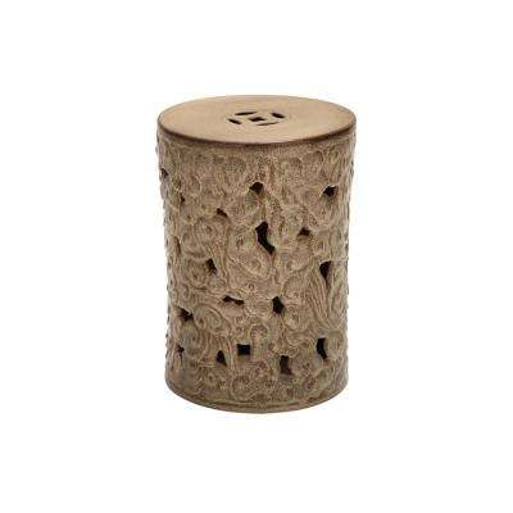 Textured Brown Ceramic Round Stool