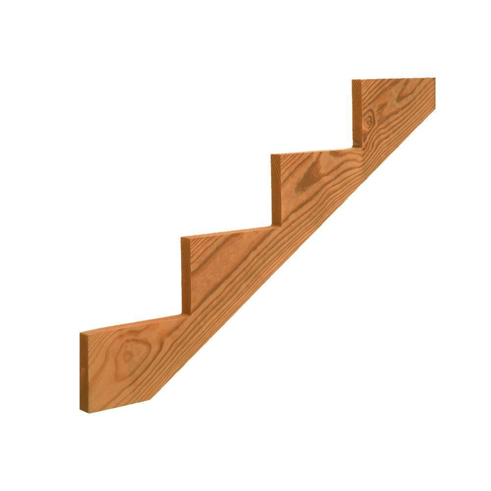 4-Step Cedar-Tone Ground Contact Pressure-Treated Pine Stair Stringer