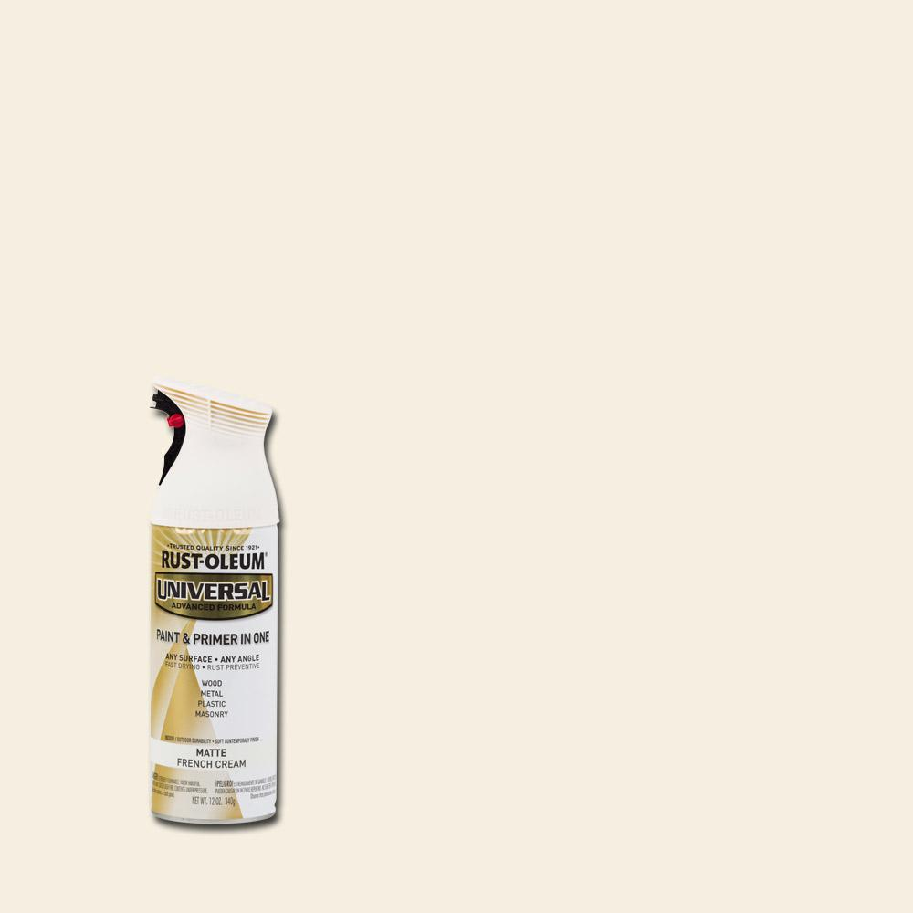 Rust-Oleum Universal 12 oz. All Surface Matte French Cream Spray Paint and Primer in One