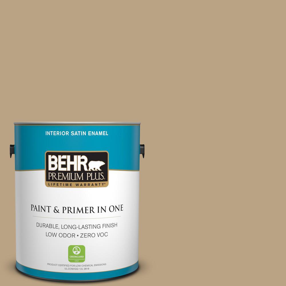 BEHR Premium Plus Home Decorators Collection 1-gal. #HDC-CT-07 Country Cork Zero VOC Satin Enamel Interior Paint