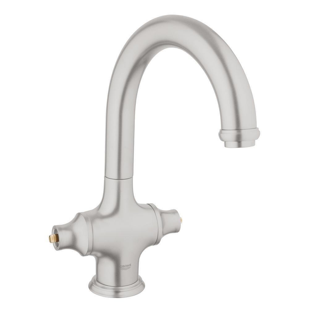 GROHE Bridgeford Single-Handle Bar Faucet in SuperSteel Infinity ...