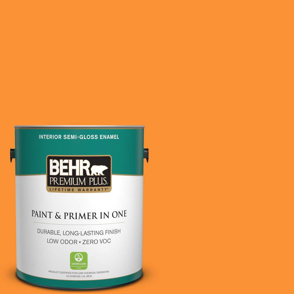 BEHR Premium Plus 1-gal. #P240-7 Joyful Orange Semi-Gloss Enamel Interior Paint