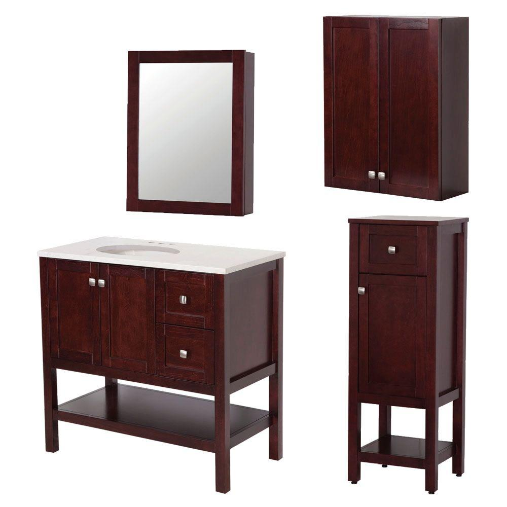 St. Paul Sydney Bath Suite with 36 in. Vanity with Vanity Top in Linen Tower OJ and Medicine Cabinet in Dark Cherry-DISCONTINUED