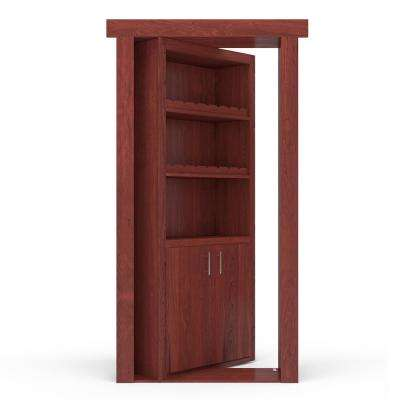 32 in. x 80 in. Flush Mount Assembled Maple Cherry Stained Right-Hand Outswing Wine Rack Door