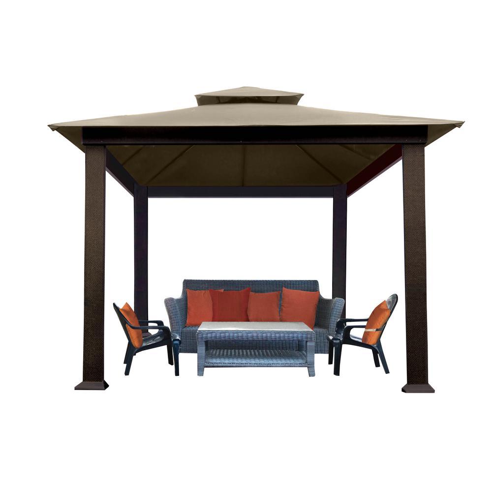 Paragon outdoor paragon outdoor 10 ft x 10 ft gazebo with cocoa sunbrella