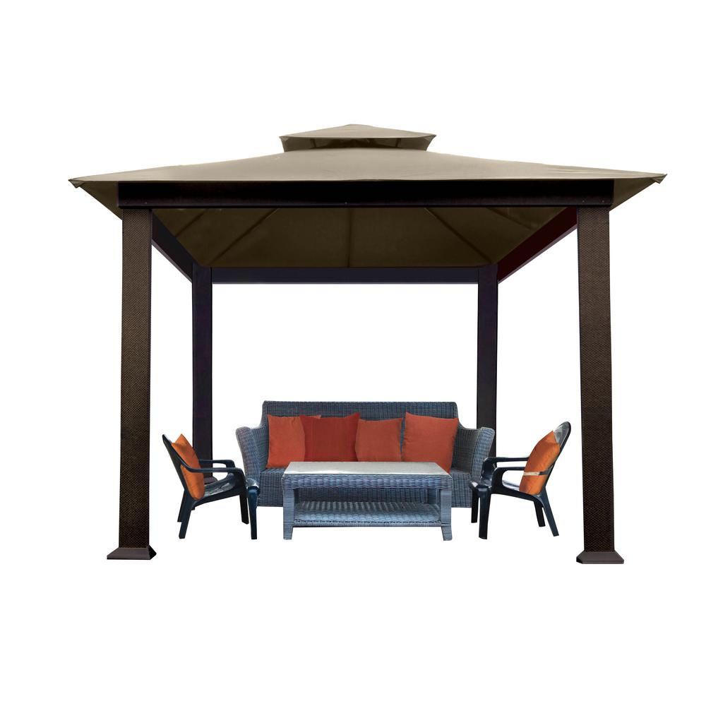 STC 10 ft. x 10 ft. Gazebo with Cocoa Sunbrella Canopy-GZ634SC ...
