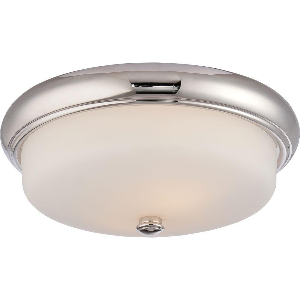 Glomar Lillian 2 Light Polished Nickel Flushmount