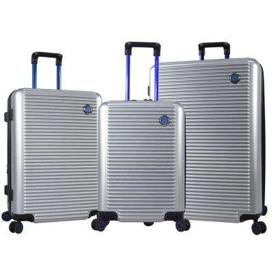 Shanghbha 3-Piece Silver/Blue Expandable Hardside Vertical Rolling Luggage Set