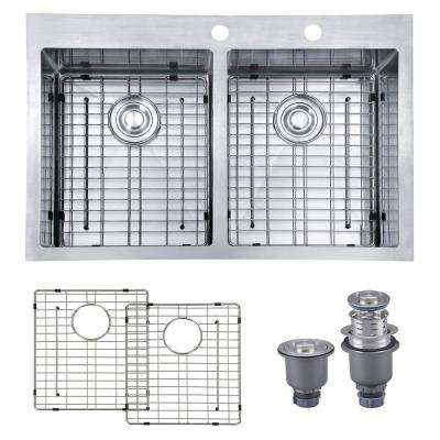 Handmade Drop-in Stainless Steel 33 in. 2-Hole 50/50 Double Bowl Kitchen Sink with Bottom Grid and Strainer