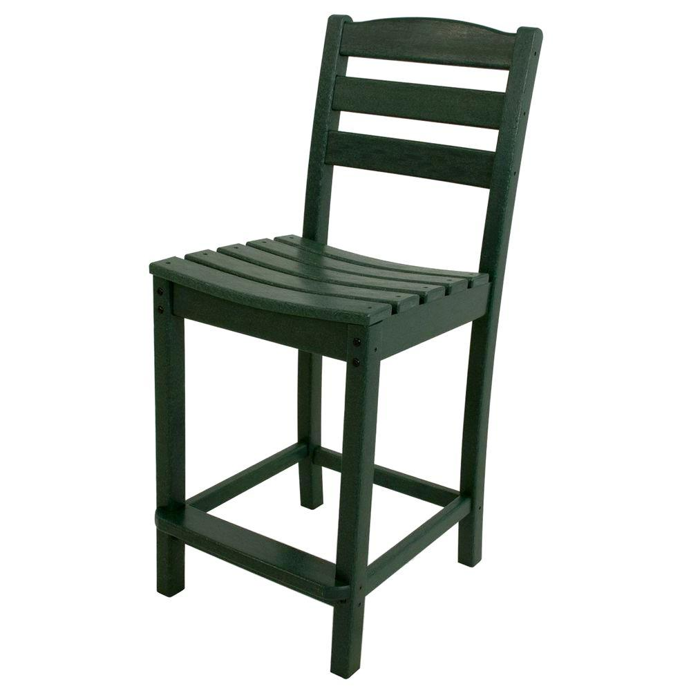 La Casa Cafe Green Plastic Outdoor Patio Counter Side Chair