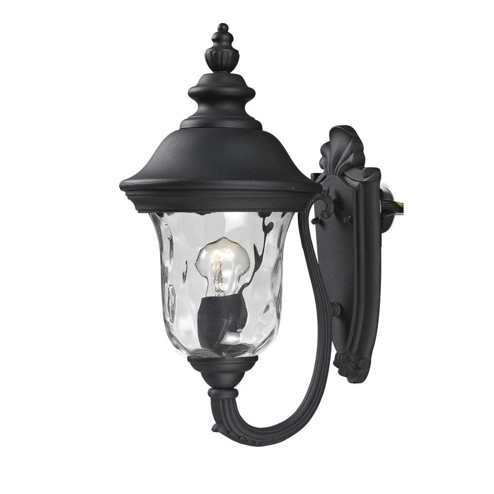 Lawrence 1-Light Black Incandescent Outdoor Wall Light