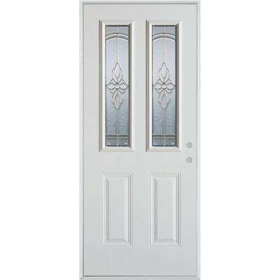 37.375 in. x 82.375 in. Traditional Patina 2 Lite 2-Panel Prefinished White Left-Hand Inswing Steel Prehung Front Door