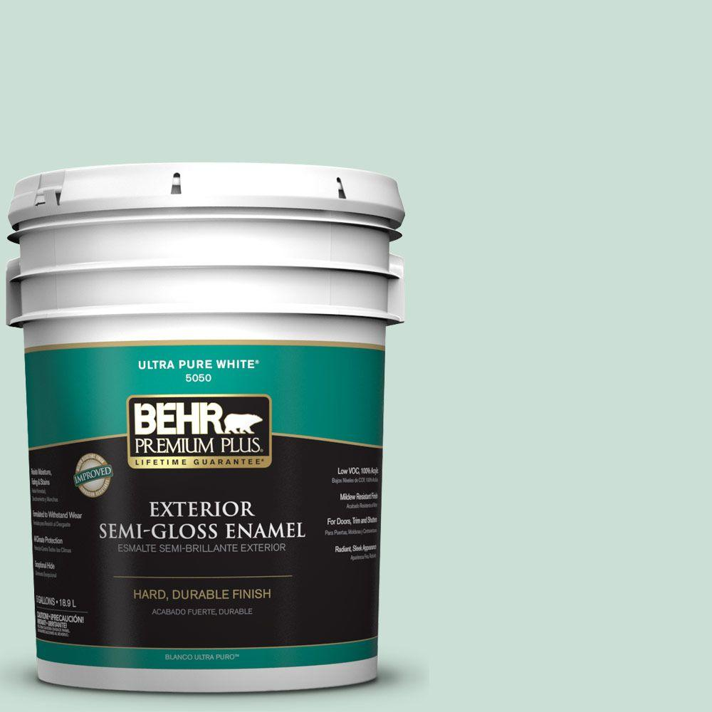 behr premium plus 5 gal m430 2 ice rink semi gloss enamel exterior paint 505005 the home depot. Black Bedroom Furniture Sets. Home Design Ideas