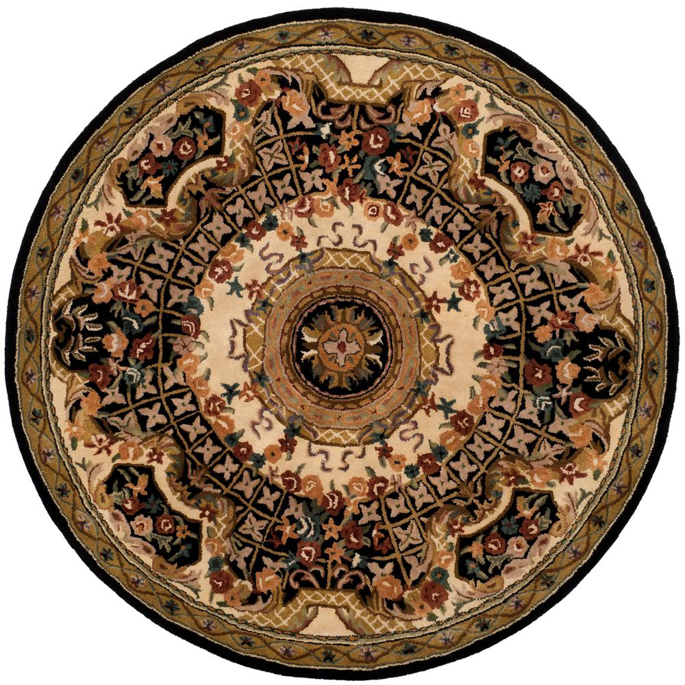 Classic Black/Gold 6 ft. x 6 ft. Round Area Rug