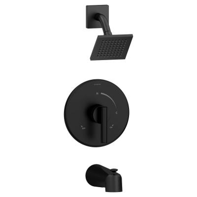 Dia Single Handle 1-Spray Tub and Shower Faucet Trim with Brass Escutcheon in Matte Black - 1.5 GPM (Valve not Included)