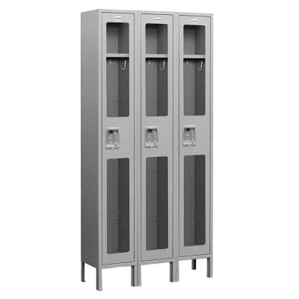 S-61000 Series 36 in. W x 78 in. H x 12 in. D Single Tier See-Through Metal Locker Unassembled in Gray