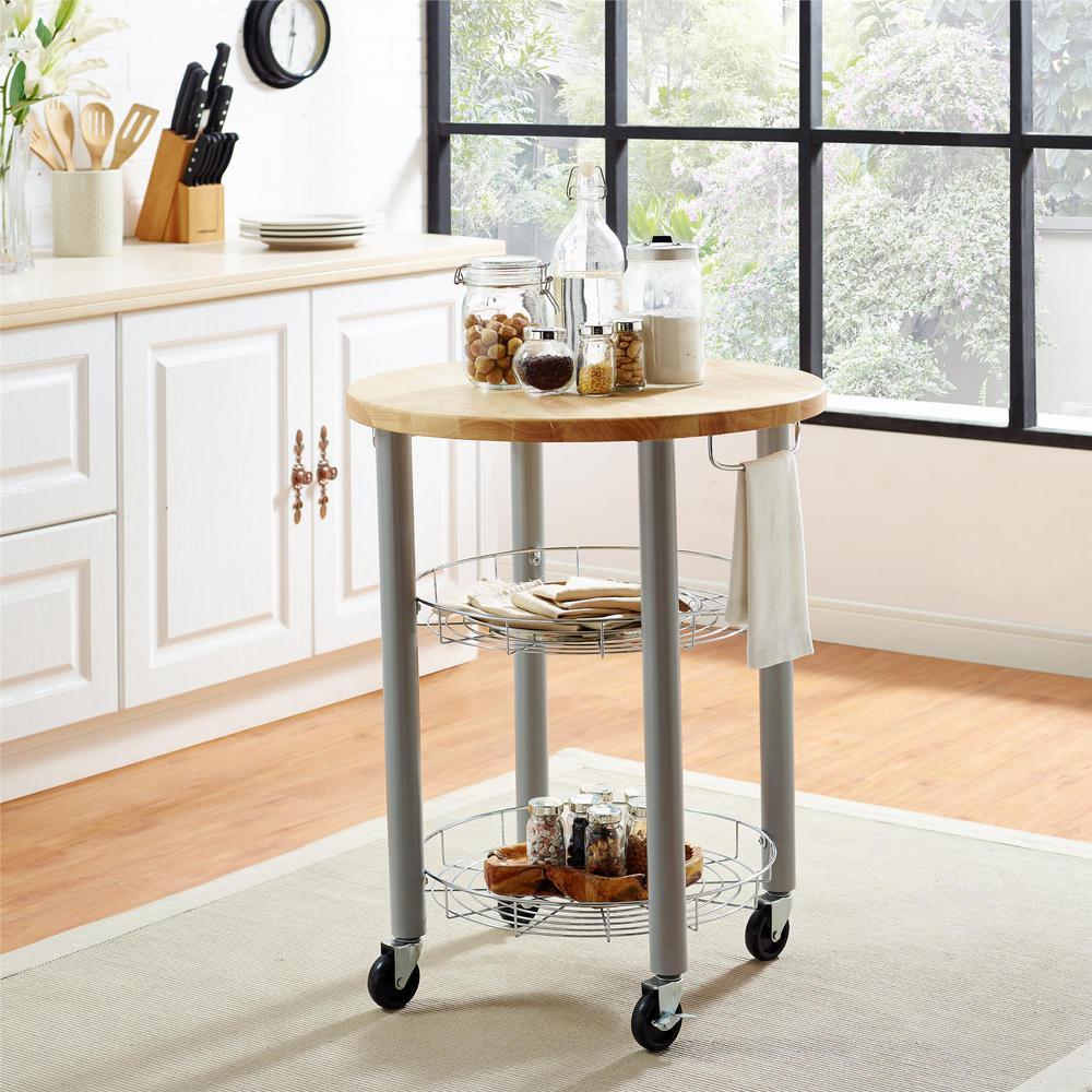 Dorel Living Cleo Round Kitchen Cart in Gray FH7840