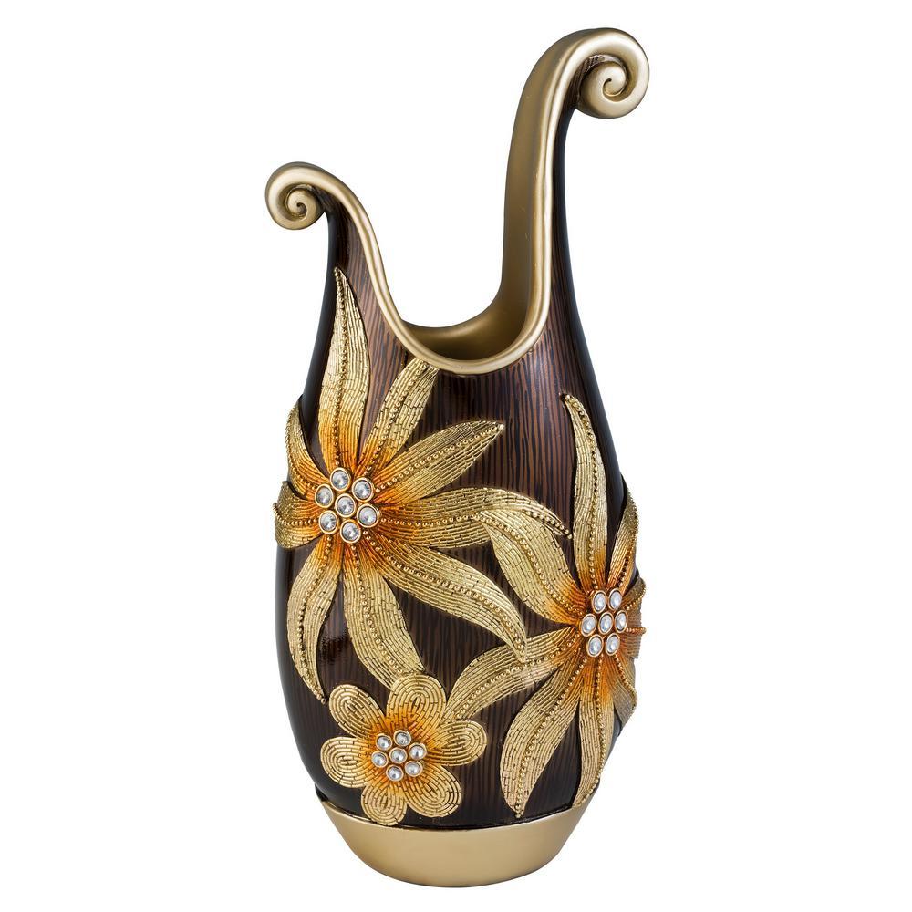 Golden Demeter Brown Polyresin Decorative Vase