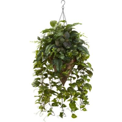 36 in. Vining Mixed Greens with Cone Hanging Basket