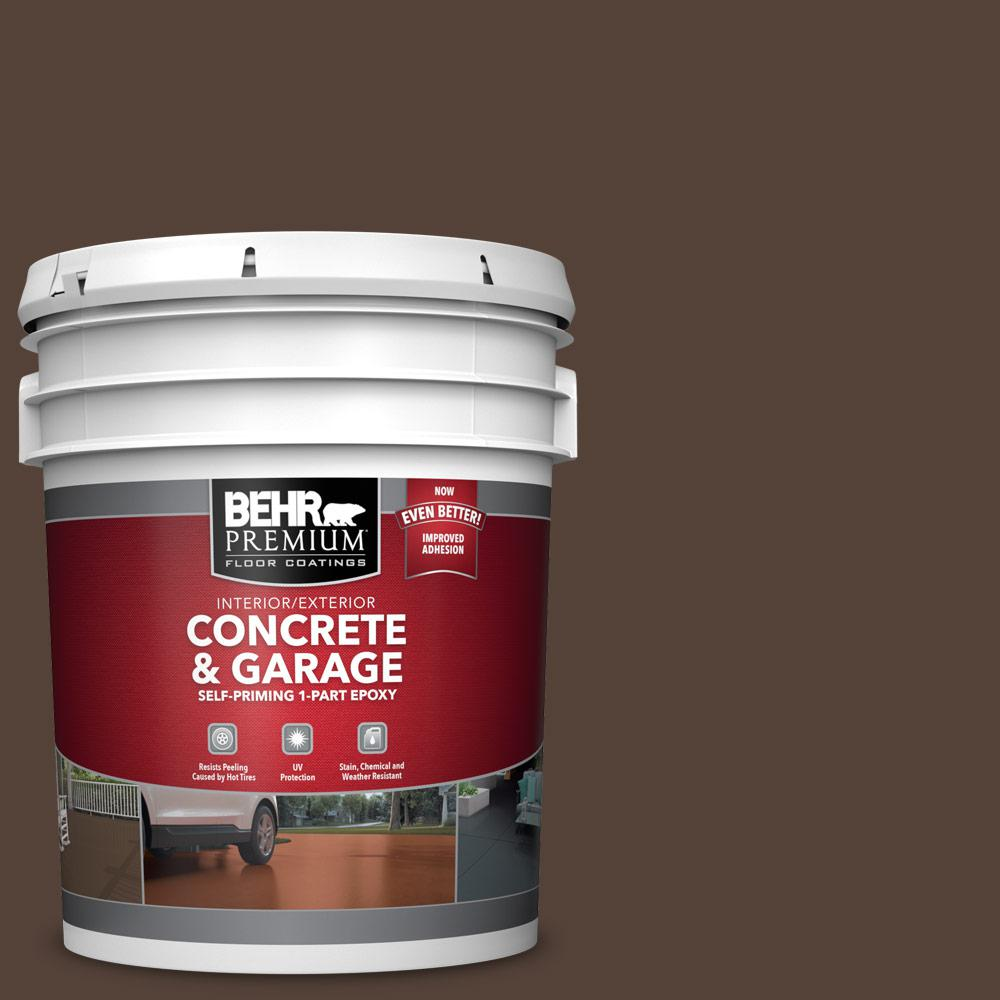 BEHR PREMIUM 5 gal. #PFC-25 Dark Walnut Self-Priming 1-Part Epoxy Satin Interior/Exterior Concrete and Garage Floor Paint