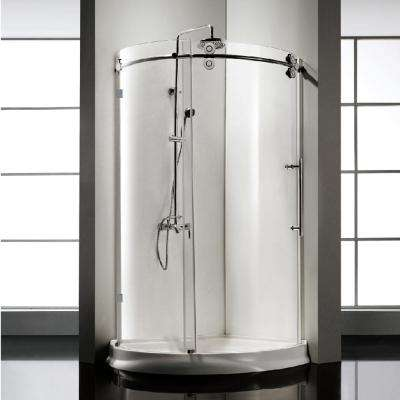 42.5 in. x 42.5 in. x 79 in. Frameless Sliding Clear Glass Shower Door Enclosure in Chrome with Handle