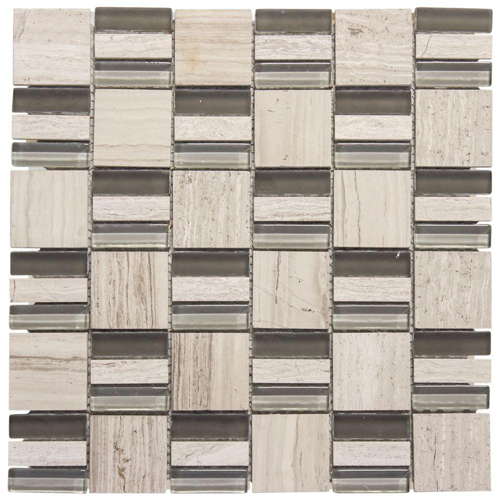 Jeffrey Court Meadows 12 in. x 12 in. x 8 mm Glass and Grey Limestone Mosaic Wall Tile