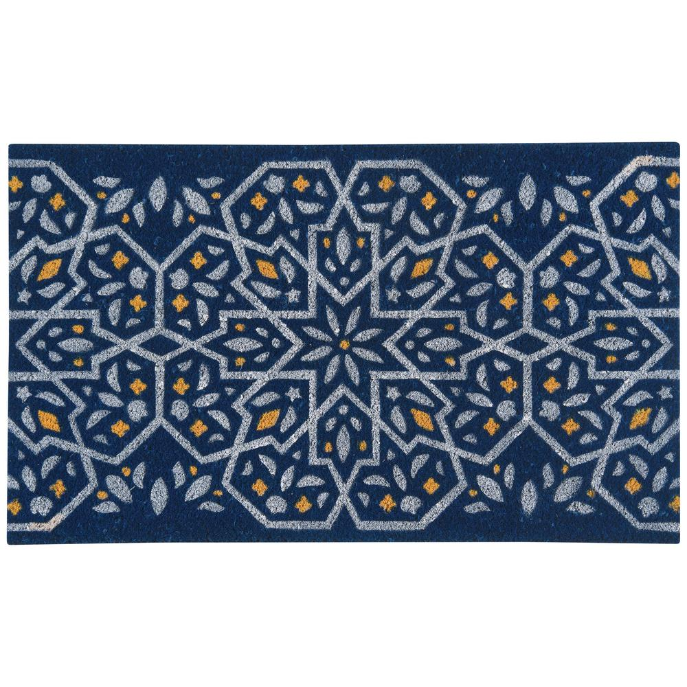 Medina Blue 18 in. x 30 in. Coir Door Mat
