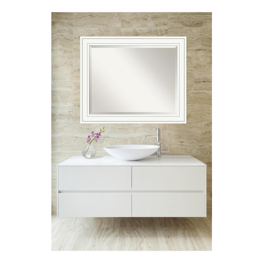 Craftsman 33 in. W x 27 in. H Framed Rectangular Beveled Edge Bathroom Vanity Mirror in White