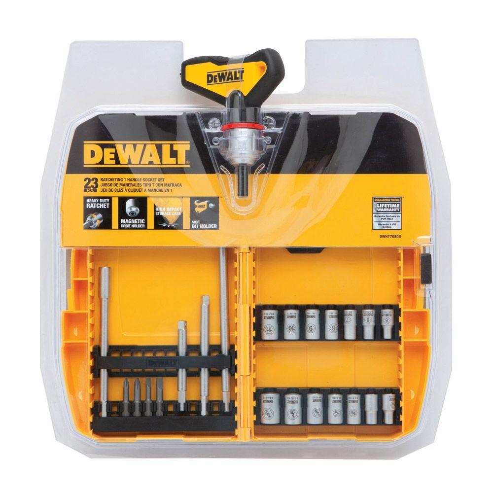 Dewalt Ratcheting T Handle Socket Set Dwht70808 The Home