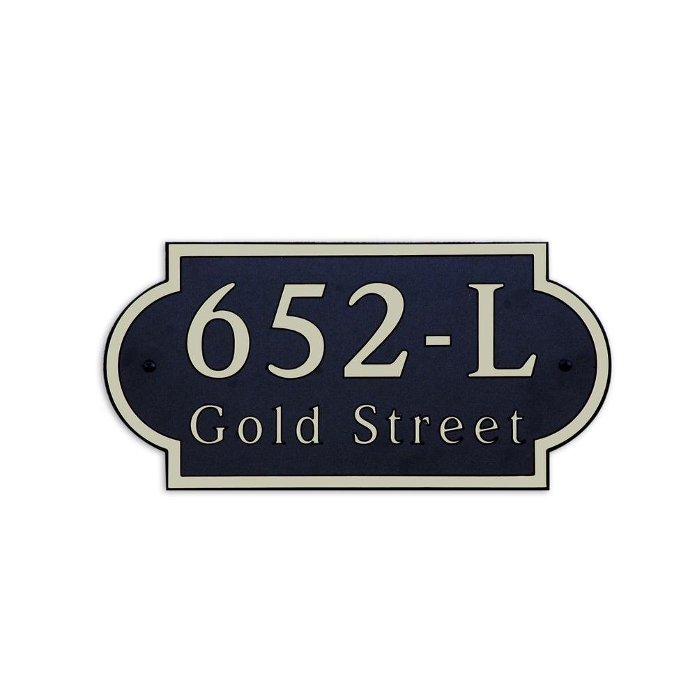 16 in. L x 8 in. H Large Designer Shape Custom Plastic Address Plaque Nickel on Black