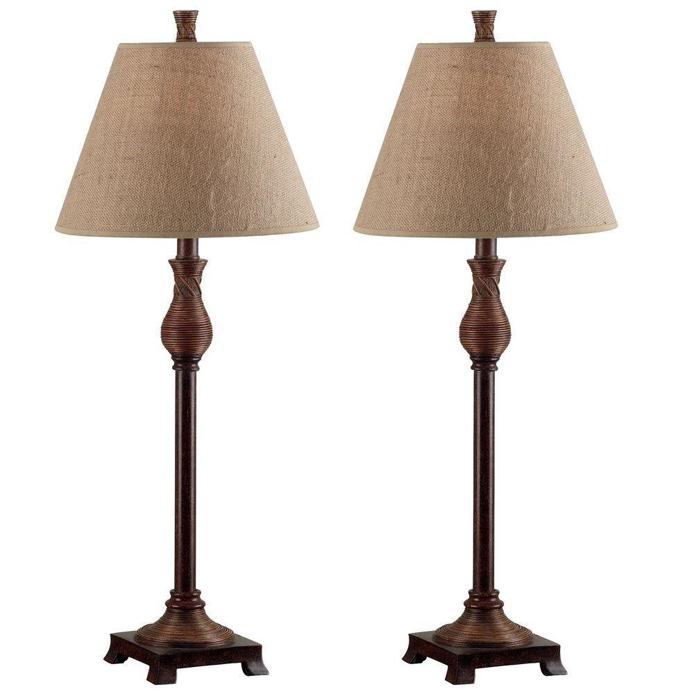 Natural Reed Buffet Lamp Set (2 Pack)