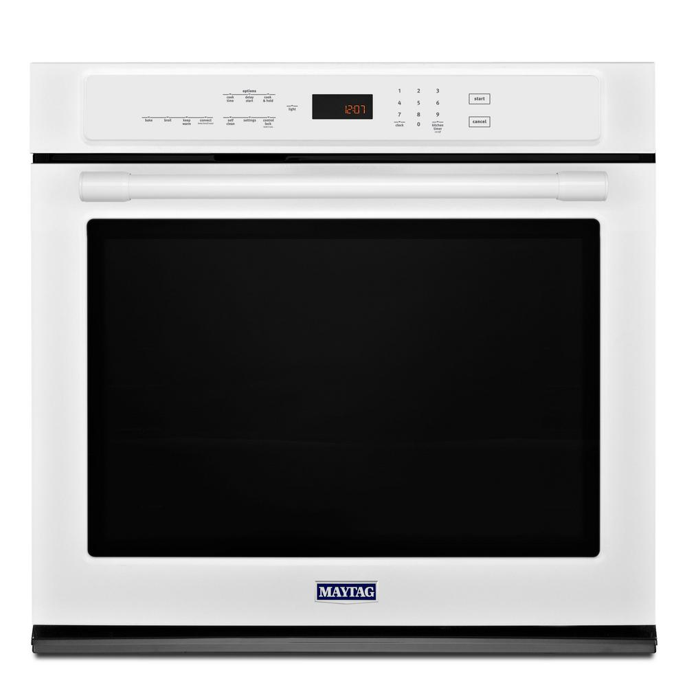30 in. Single Electric Wall Oven with Convection in White