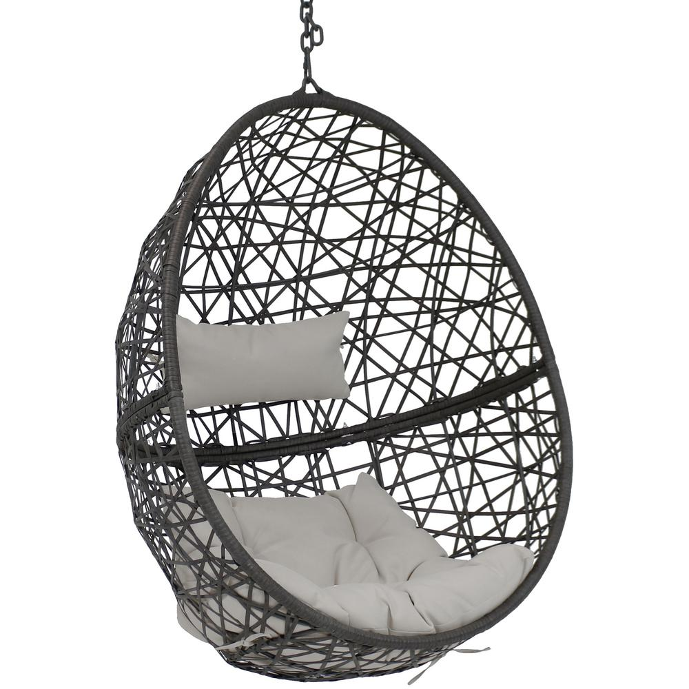 Sunnydaze Decor Caroline Resin Wicker Hanging Egg Patio Lounge Chair With Gray Cushions Aj 734 The Home Depot