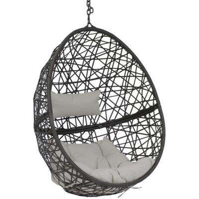 Caroline Resin Wicker Hanging Egg Patio Lounge Chair with Gray Cushions