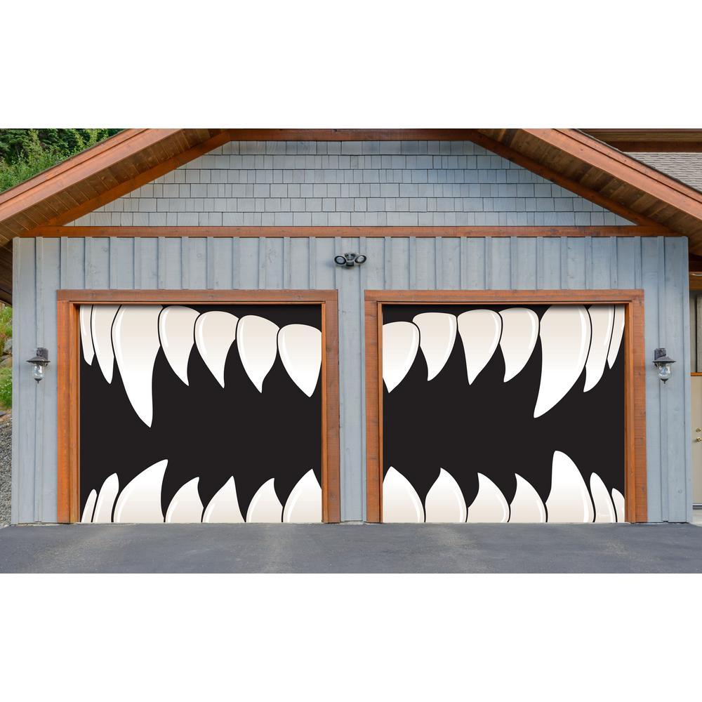 7 ft. x 8 ft. Halloween Scary Teeth Halloween Garage Door Decor Mural for Split Car Garage