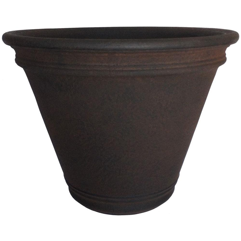 Planters Online 22 in. Round Rust Resin Doge Planter