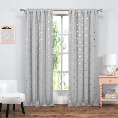 Kelly 38 in. x 84 in. L Polyester Blackout Curtain Panel in Grey (2-Pack)