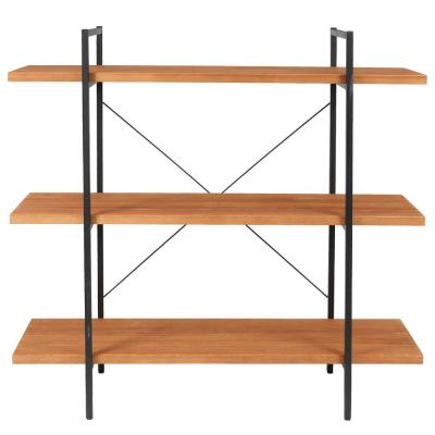 48.8 in. Natural Metal 3-shelf Etagere Bookcase with Open Back