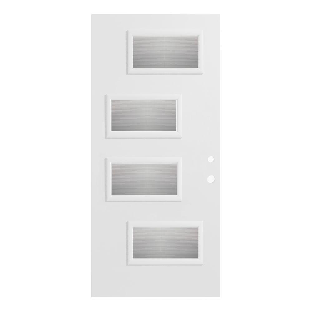 32 in. x 80 in. Beatrice Screen 4 Lite Painted White