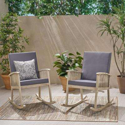 Casa Light Grey Wood Outdoor Rocking Chair with Dark Grey Cushions (2-Pack)