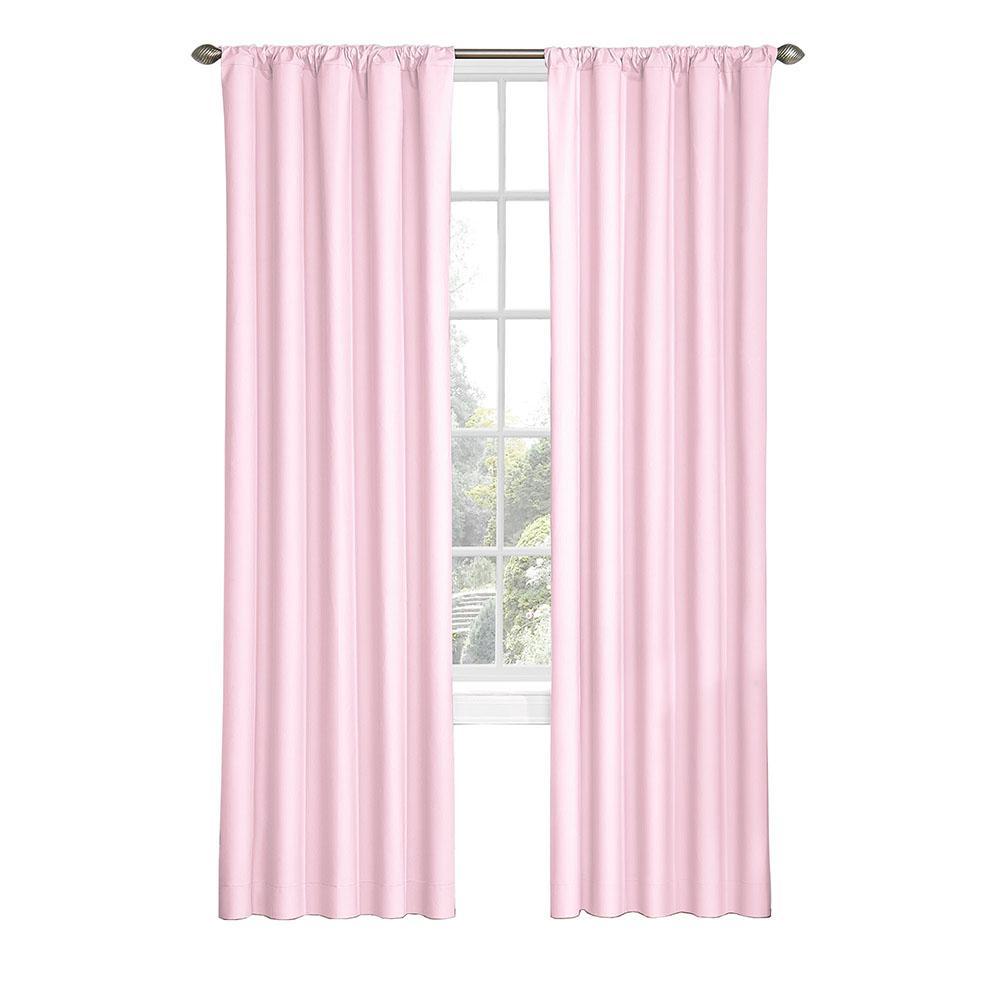 Kids Microfiber Blackout Window Curtain Panel in Pink - 42 in. W x 84 in. L