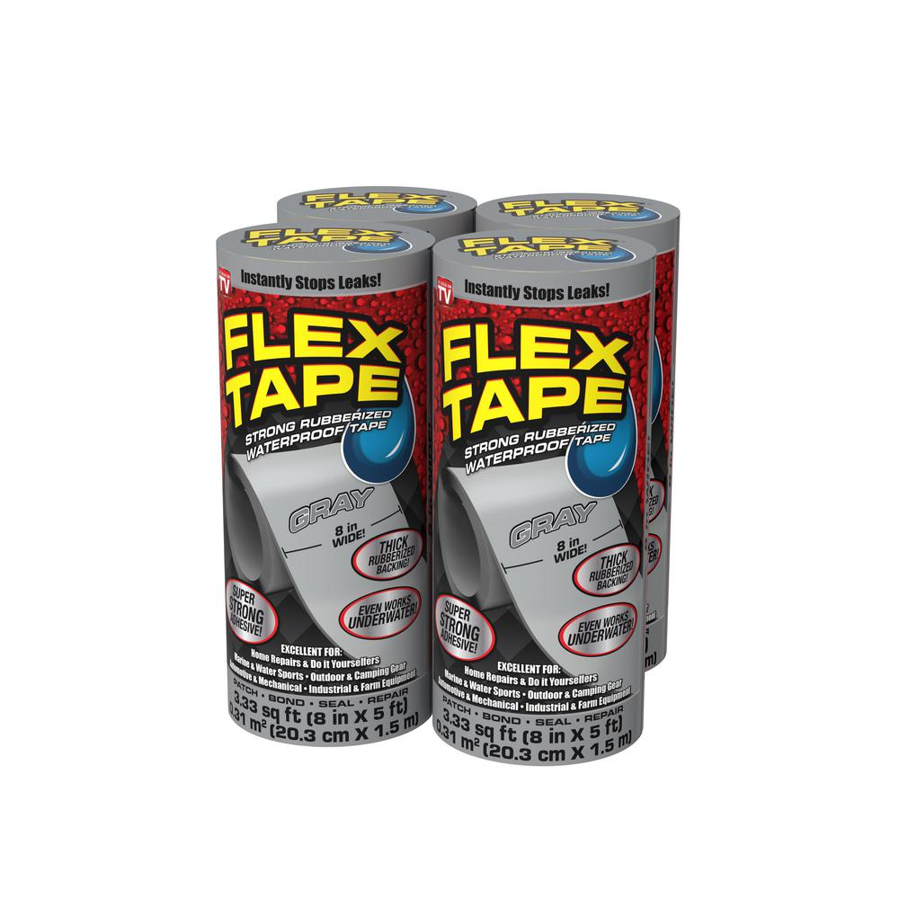 Flex Seal Family Of Products Flex Tape Gray 8 In X 5 Ft Strong Rubberized Waterproof Tape 4 Piece Tfsgryr0805 Cs The Home Depot
