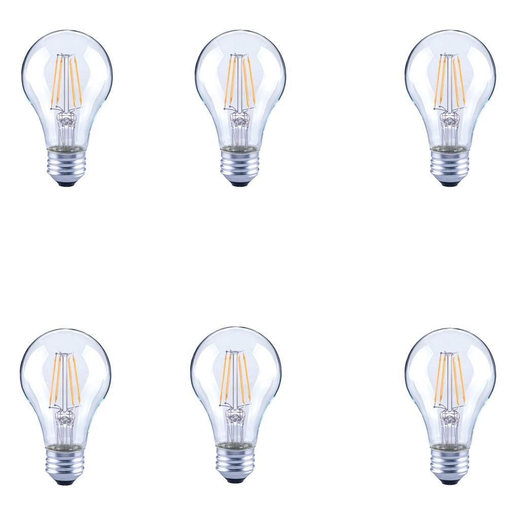 Ecosmart Led Bulbs Light The Home Depot 2 Way Bulb Switch 40 Watt Equivalent A19 Clear Glass Filament Dimmable Daylight