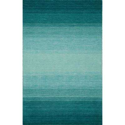 Dunes Wool Ombre Teal 5 ft. x 7 ft. 3 in. Area Rug