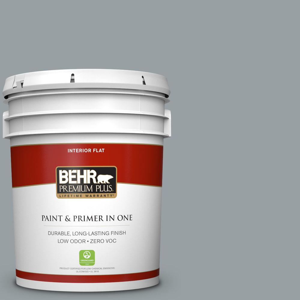 5 gal. #HDC-SM16-02 River Rock Grey Zero VOC Flat Interior Paint