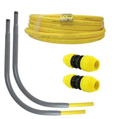 Underground 1in IPS New Install Kit (1)1in x 100 ft. Pipe (2)1in Couplers (2)1in Meter Risers, Gas Line Detection