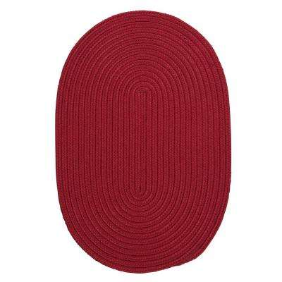 Trends Red 7 ft. x 9 ft. Braided Oval Area Rug