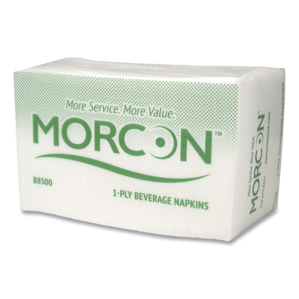 Morsoft Beverage Napkins, 9 in. x 9 in. , White, 500/Pack, 8 Packs/Carton