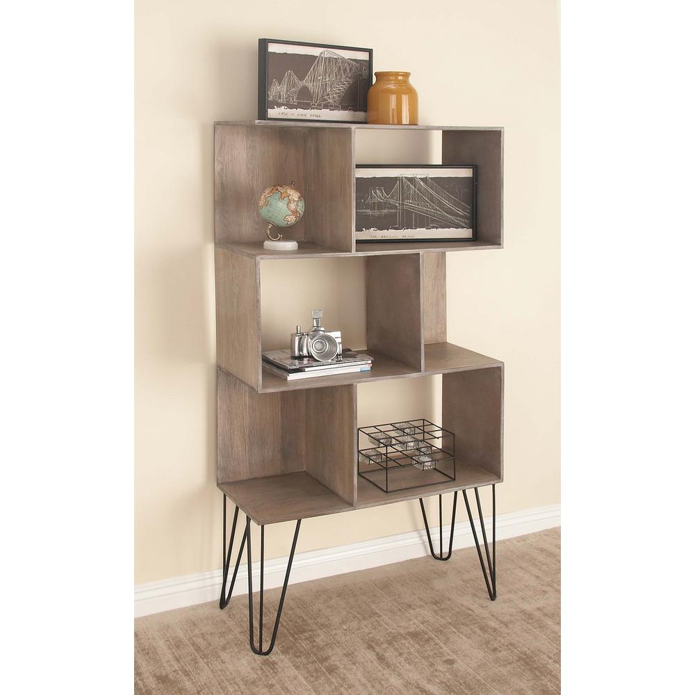61 in. x 32 in Rustic Cube-Type Wooden Shelf